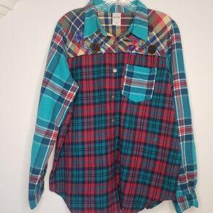 Blair Vintage Plaid Flannel Embroiderd shirt